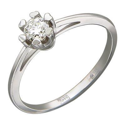 Кольцо, белое золото 585 пробы. Примерный вес изделия - 1.37 гр. Вставки - Бриллиант-1-0.2-4/6. - Золотое кольцо  01K626780