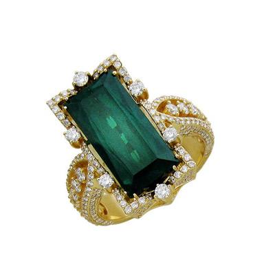 Золотое кольцо  01K645373L - Ювелирное изделиеКольцо, Золото желтое 750, Аквамарин + Бриллиант.<br>