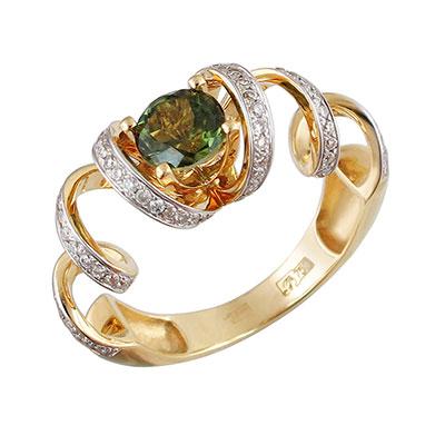 Купить Золотое кольцо 01K646209-6, Кольцо. Золото 750 пробы. Вставка: бриллиант КР-57 3/5 84шт., 0.43ct, турмалин круг, 1.01ct. Средний вес изделия 5, 72 гр. ., Ювелирное изделие