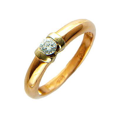Купить Золотое кольцо 01K664832, Кольцо средний вес 3.29 г., Комбинированное золото 585 пробы, Вставки - бриллианты., Ювелирное изделие