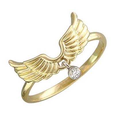 Купить Золотое кольцо 01K667425J, Кольцо. Золото 585 пробы. Вставка: бриллиант КР-57 4/5 1шт., 0.03ct. Средний вес изделия 1, 77 гр. ., Ювелирное изделие