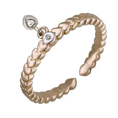 Купить Золотое кольцо 01K667659W, Кольцо. Золото 585 пробы. Вставка: бриллиант КР-57 3/5 2шт., 0.02ct. Средний вес изделия 2, 09 гр. ., Ювелирное изделие