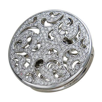 Кольцо, белое золото 750 пробы. Примерный вес изделия - 11.01 гр. Вставки - Бриллиант-8-0.05-3/3, Бриллиант-12-0.08-3/5, Бриллиант-15-0.06-3/5, Бриллиант-130-0.48-3/4. - Золотое кольцо  01K675637