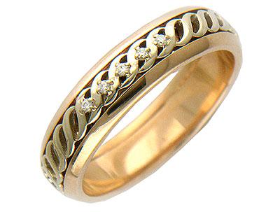 Кольцо средний вес 4 г., Комбинированное золото 585 пробы, Вставки - бриллианты. Ширина 5,00мм. - Золотой подвес  01O660134