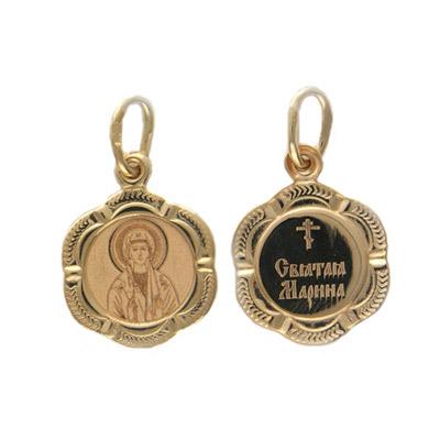 Купить Золотой подвес 01P011252, Подвеска, красное золото 585 пробы Св. Марина.., Ювелирное изделие