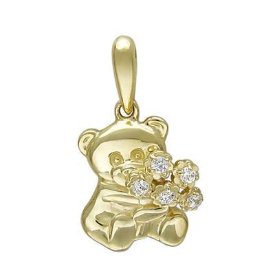 Купить Золотой подвес 01P131610, Подвеска, Золото желтое 585, Фианит бесцветный., Ювелирное изделие