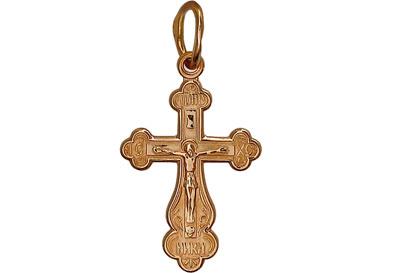 Купить Золотой крест 01R010432, Красное золото 585 пробы. Средний вес изделия: 1, 65 гр. Без вставок., Ювелирное изделие