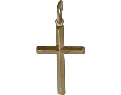 Купить Золотой крест 01R029006, Белое золото 585 пробы. Средний вес изделия: 1, 14 гр. Без вставок. Высота 18 мм, ширина 12 мм, вместе с ушком высота 24 мм.., Ювелирное изделие