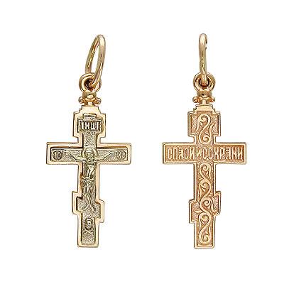 Купить Золотой крест 01R060641, Подвеска. Золото комбинированное 585 пробы. ., Ювелирное изделие