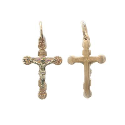 Купить Золотой крест 01R060658, Подвеска, комбинированное золото 585 пробы., Ювелирное изделие