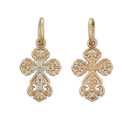 Купить Золотой крест 01R060736, Подвеска. Золото комбинированное 585 пробы. ., Ювелирное изделие