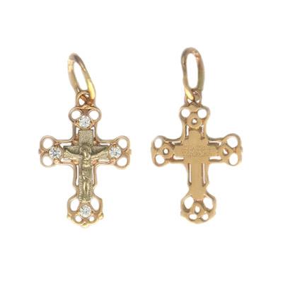 Купить Золотой крест 01R160635, Подвеска, комбинированное золото 585 пробы. Фианит бесцветный. ., Ювелирное изделие