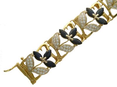 Купить Золотой браслет 56B680042, Браслет Золото 750 пробы. Вставка Бриллиант, Сапфир., Ювелирное изделие