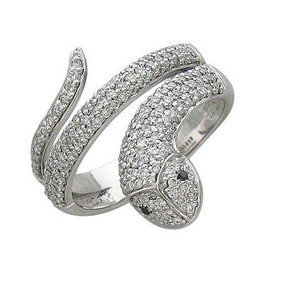 """Кольцо  """"Змея """" с бриллиантами - CharmGold магазин: серебряные и золотые украшения."""