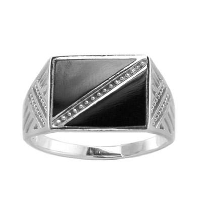 Серебряное кольцо 91061413 - Ювелирное изделиеКольцо, серебро 925 пробы. Вставки - оникс