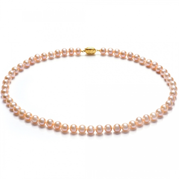 Купить Серебряное колье NP1058, Ожерелье из жемчуга цвета оранж Н5.8. Ожерелье из натурального цвета оранж - лучший выбор для тех, кто стремится привнести толику оригинальности в выдержанную и непобедимую классику.Натуральный жемчуг Категория качества: АА Диаметр жемчуга: 8-8, 5 мм Металл: серебро 925 с позолотой Длина 45 см.., Ювелирное изделие