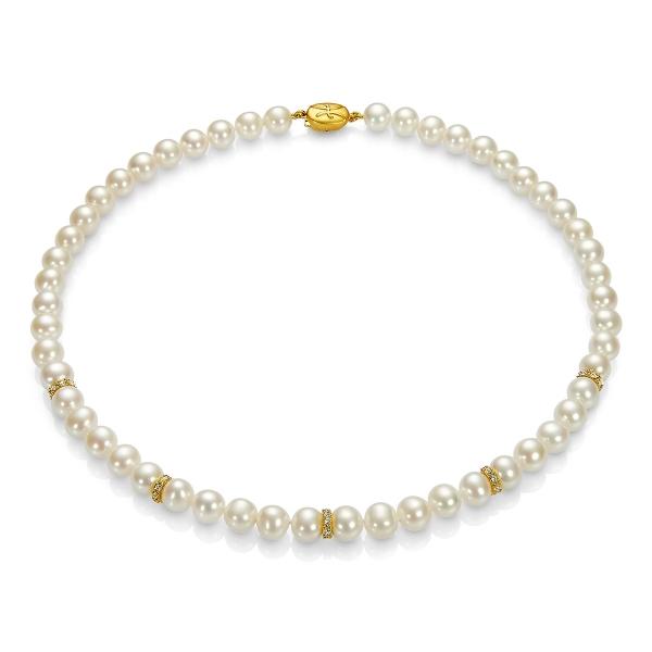 Купить Серебряное колье NP1116, Ожерелье Вдохновение из белого жемчуга АО ВдохновениеZ. Блестящий шедевр из белого пресноводного жемчуга с мерцающими вставками прекрасно дополнит Ваш вечерний наряд.Натуральный жемчуг Категория качества: АА+ Диаметр жемчуга: 7, 5-8 мм Металл: серебро 925 с позолотой Длина 44 см.., Ювелирное изделие