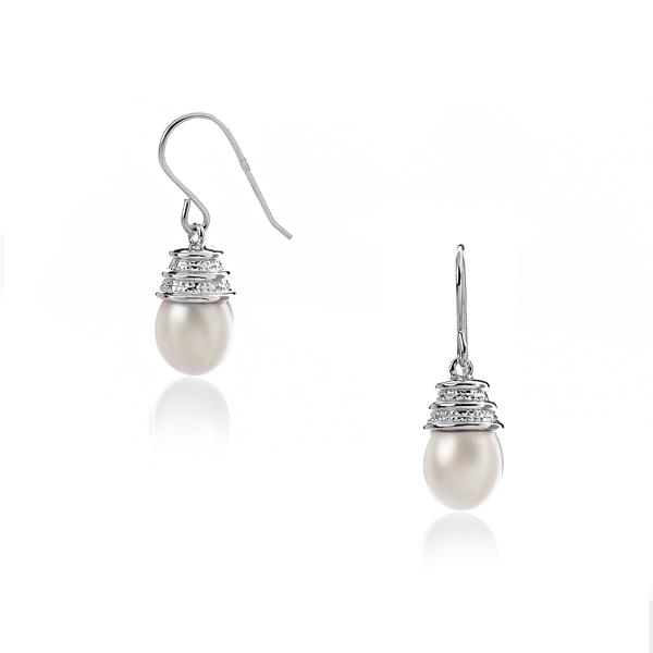 Купить Серебряные серьги NP1333, Серьги с белым жемчугом PS080196E-1 W. Серебряные серьги в стиле винтаж несомненно подчеркнут яркий и неповторимый стиль и образ их обладательницы.., Ювелирное изделие