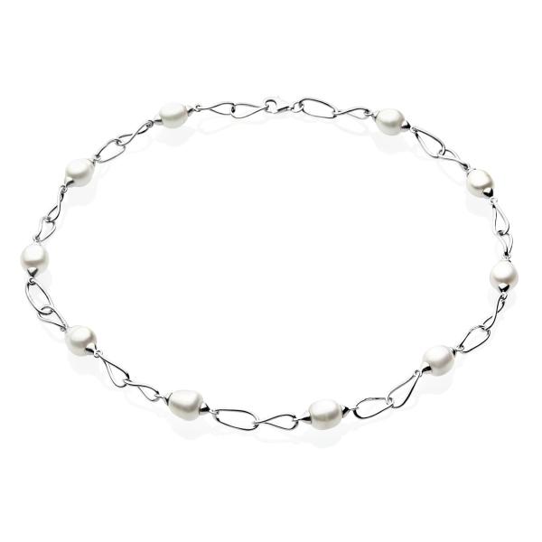 Купить Серебряное колье NP830, Серебряное ожерелье с белыми жемчужинами NW0076-2621RN. Оригинальное ожерелье в виде цепи с культивированным белым жемчугом. Для стильных девушек, которые всегда хотят быть в центре внимания!Натуральный жемчуг Категория качества: А+ Диаметр жемчуга: 8, 5-9 мм Металл: серебро 925 Длина 45 см.., Ювелирное изделие