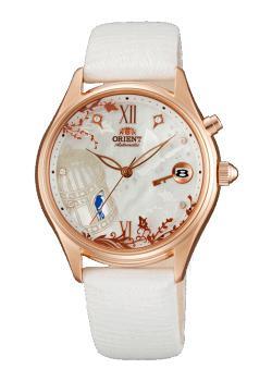 Японские наручные  женские часы Orient DM00001W. Коллекция Fashionable Automatic - OrientПтичка в клетке в течении недели каждый день разная. Индикация числа. Диаметр корпуса 36 мм. Альтернативный артикул: FDM00001WL<br>