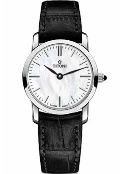Швейцарские наручные  женские часы Titoni TQ-42918-S-ST-587. Коллекция Slenderline