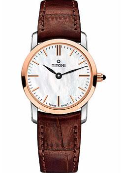 Швейцарские наручные  женские часы Titoni TQ-42918-SRGST587. Коллекция Slenderline